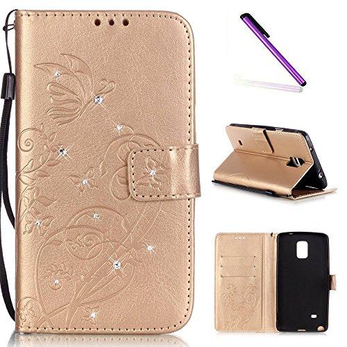 e 4 Case Glitzer Bling Diamant Schmetterling Flip Leather Leder Schutzhülle Ledertasche Lederhülle Handyhülle Hülle für Samsung Galaxy Note 4,Gold Butterfly with Diamond ()