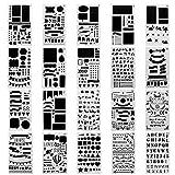 Meetory 20pcs Plastique Journal Pochoir, les bannières, les cloisons de séparation et icônes de dessin de peinture, pour ordinateur portable/agenda/scrapbook projets de bricolage