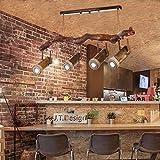 AMOS Retro Seil Kronleuchter Schlafzimmer Wohnzimmer Bar Theke Café Land Bambus Holz Strahler (Farbe : Warmes Licht)
