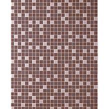 Empapelado de diseño mosaico para cocinas EDEM 1022-14 azulejos papel texturado marrón chocolate marrón plata