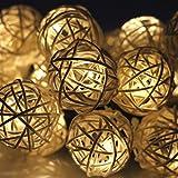 Gearmax® 20 LED Blanco cálido ratán Bola de hadas de la secuencia de las luces de Navidad Para la boda del partido caliente
