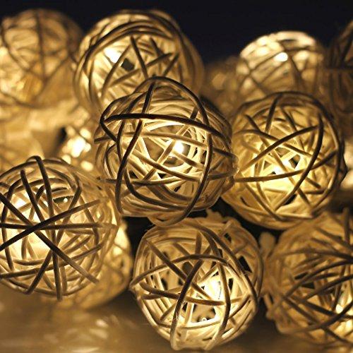 Gearmax® 20 LED Rattan-Kugel Batteriebetrieben Innen Im Freien Beleuchtung für Garten Rasen Bar Verein Hochzeit Valentinstag Weihnachten (Warmweiß)
