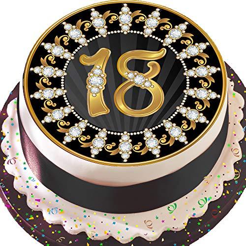 bare Deko-silikonformkuchendekoration, 19,1cm Runder Tortenaufsatz, schwarz und gold 18. Geburtstag Z19 ()
