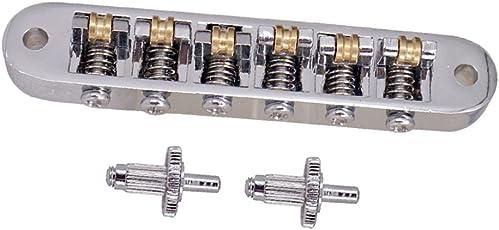 B Baosity 1 Set Ponte Di Bloccaggio Sella Rullo Con Borchie Per Chitarra Elettrica - Argento, come descritto