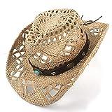Mychome Mix Cappello da Cowboy Cappello di Paglia Naturale 100% Artigianale Donne Uomini Weave Cowboy Cappelli per Lady Dad, BAX, 56-58 cm