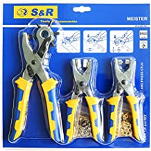 S&R Hobby Line – Set Alicates perforador, Alicate sacabocados, remachadora. Ojales de 4 mm de 100 St, Botones De Presión 9 mm (25 pz). Alicate perforador giratorio 6 tamaños de agujeros 2 / 2,5 / 3 / 3,5 / 4 / 5 mm