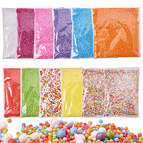 PandaHall Elite - Lot de 12 Packs Boules de Mousse Slime Perles pour la CR¨¦ation de Slime Art DIY Crafts et la D¨¦coration de f¨ºte ou No?l, Couleur Melangee, 2.5~9mm