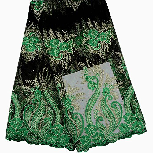 1619e46fe242a KENLACE 5 Yards/Lot Latest African lace African Cord Lace With  Rhinestones,Green Nigerian Guipure Lace Fabrics For Women (Green)