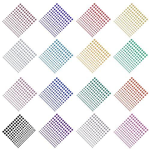 16 Packungen Strass-Aufkleber, YuCool Aufkleber in 4 Größen 16 Farben für Nägel, Handwerk, Festival, Karneval, Make-up, Basteln und Verzierungen - 2640 Stück