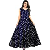 Mudrika RayonWomen Long Dresses Anarkali Dress (Multicolour, Free Size)