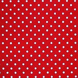 Rojo 100% popelina tela de algodón con lunares blancos (por metro)