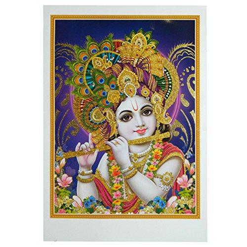 Bild Krishna 50 x 70 cm Gottheit Hinduismus Kunstdruck Plakat Poster Gold Indien Hochglanz Dekoration