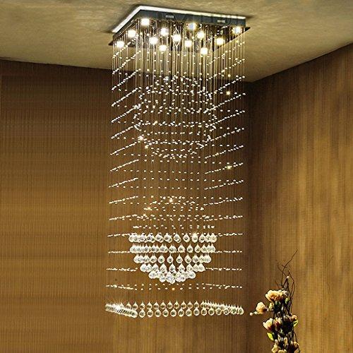 Lustre Escaliers lustres à long lustres duplex étage villa lustre en cristal tournant grand salon LED lustres Éclairage décoratifA+ ( taille : 50*50cm )