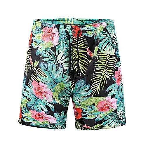 Ocean Plus Hombre Pantalón Corto Bañador Verano Hawaii Beaches UV con Cordón, Plantas Tropicales...