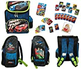 2 tlg Hot Wheels - Super Set - Schulranzen / Schulrucksack (35,5 x 27,5 x 16 cm) + Uno - HOT WHEELS Kartenspiel + Sticker Nr. 5 der