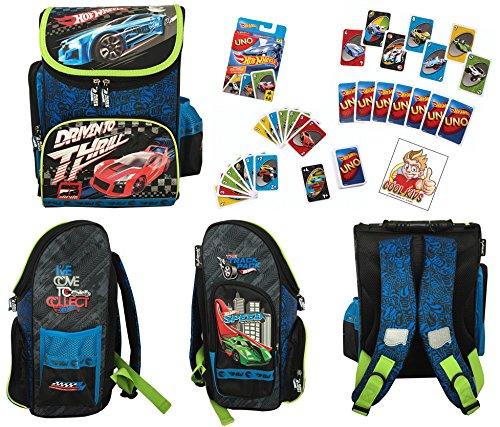 uper Set - Schulranzen/Schulrucksack (35,5 x 27,5 x 16 cm) + UNO - HOT Wheels Kartenspiel + Sticker Nr. 5 der