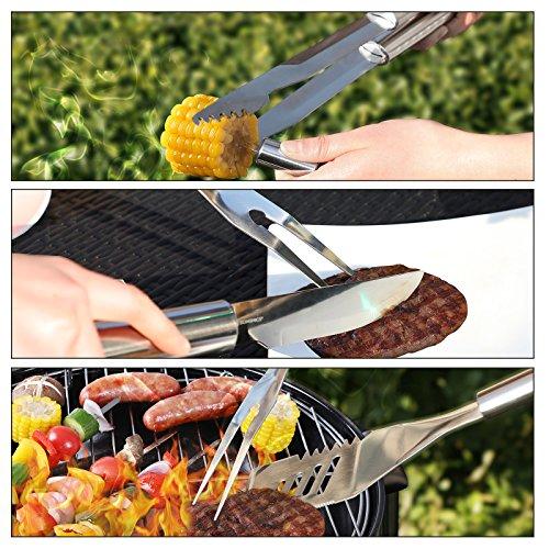 61ypO7 ostL - SONGMICS Grillbesteck Set aus Edelstahl mit Ersatzteile 18 teilig Maishalter zum Grillen Zubehör mit Alukoffer GBT18SV