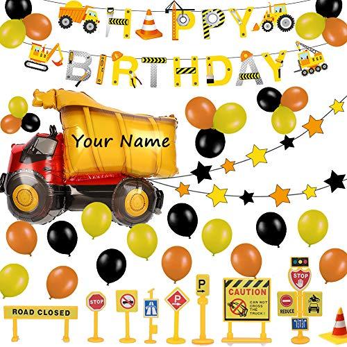 52 Stück Baustelle Geburtstag Deko Set für Kinder, Alles Gute Zum Geburtstag & Star Girlande, Lastkraftwagen Luftballons, Straßenschild Tortendekoration - Party Dekoration für 1 2 3-12 Jahre Jungen