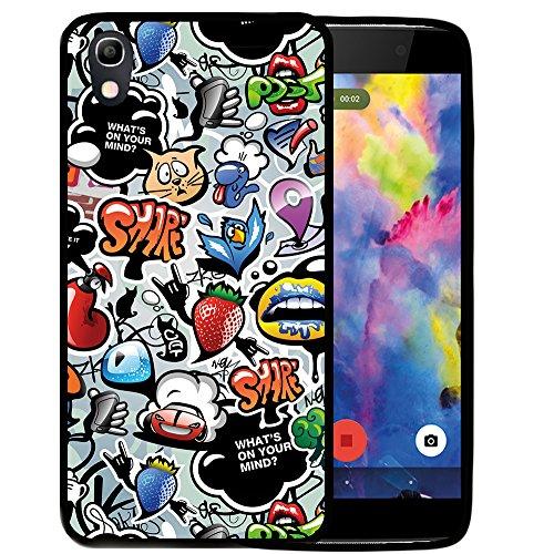 WoowCase Alcatel Idol 4 Hülle, Handyhülle Silikon für [ Alcatel Idol 4 ] Coloriertes Graffiti Handytasche Handy Cover Case Schutzhülle Flexible TPU - Schwarz