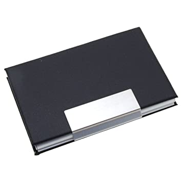 Elegant metal business cards holder coated leather black amazon elegant metal business cards holder coated leather black amazon office products reheart Image collections
