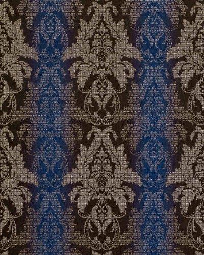 3D Barock-Tapete Damask EDEM 770-37 Luxus Tapete hochwertige Brokat Struktur dunkel-braun royal-blau silber - Royal Blau-tapeten