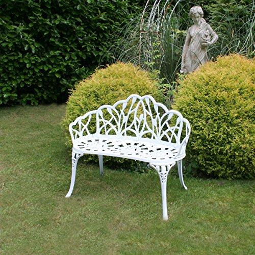 Gartenbank für 2 Personen – Tulpen-Design – Aluguss – Weiß - 2