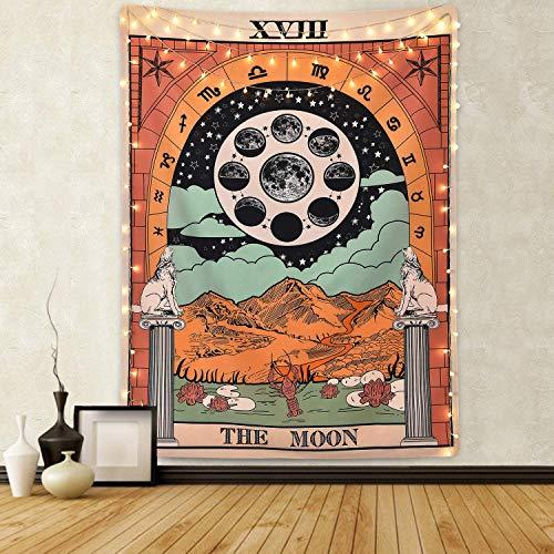 ppich, Motiv: Mond, Stern, Sonne, Mittelalterliches Europa, Divination Tapisserie, Wandbehang, Dekoration, geheimnisvoll für Schlafzimmer, Heimdekoration, The Moon, 51
