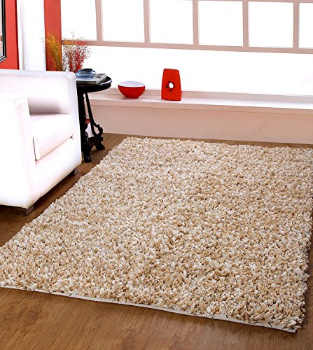 Centra Home Paper Shag.. Handmade Rug Carpet Make You feel Elegance, Soft & Rich 3.6x5.6ft Beige/Wht