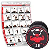 POWRX Professionell Rundhantel Einzeln inkl. Workout I Gummi Kurzhantel Beschichtung GERUCHSNEUTRAL...