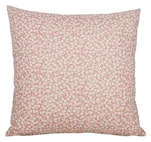 Coussin déco carré rose, blanc et beige en coton de style champêtre, déhoussable (45×45cm)