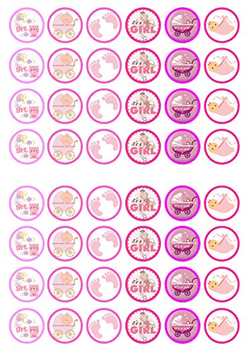 48 It's A Girl Mix Baby Shower, 48 Seine junge Baby-Dusche, Essbare PREMIUM Dicke GEZUCKERTE Vanille, Reispapier Mini Cupcake Toppers, Cake Pops, Cookies für Wafer - Pops Shower Baby Cake
