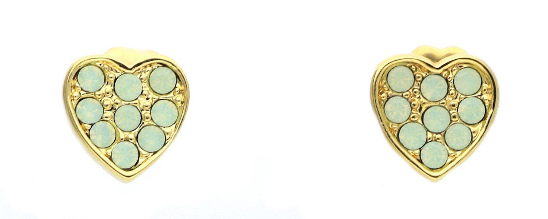 Guess Orecchini da donna Kiss & Love Acciaio Inossidabile teilvergoldet cristallo verde di ube61081