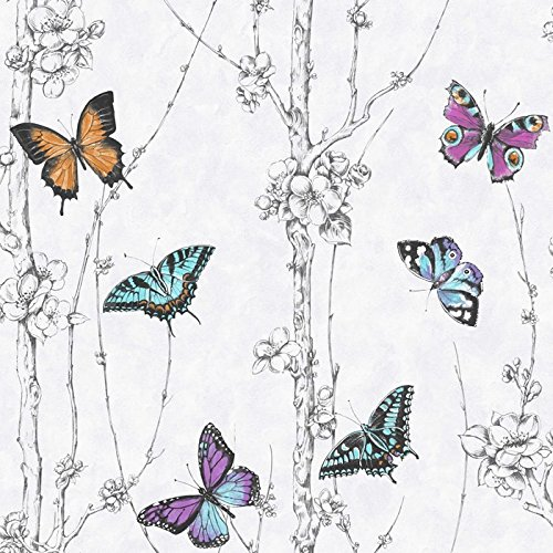 Fresco Great Value Flutter Forest Butterfly Print Wallpaper 101694