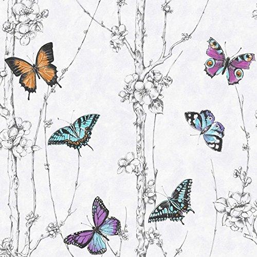 fresco-butterfly-wald-vliestapete-tapete-weiss-mehrfarbig