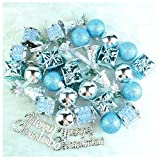VAK 32/lot Gold/Blau Merry Christmas Weihnachtsbaumschmuck Kunststoff Weihnachten Kugeln XMAS TREE DECOR Christbaumkugel zum Aufhängen Ball Ornamente für Home Party Xmas New Year Dekoration Blue+silver