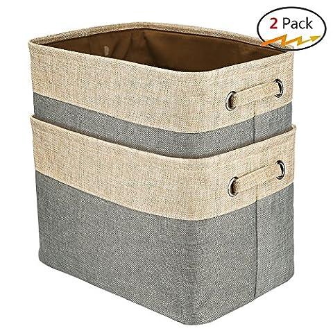 walsilk Stoff Abfalleimer Set, Faltbare Cube Aufbewahrungsbox Korb Bin, klappbar Rechteck Organisation Körbe, für Kinderzimmer, Schrank, Spielzeug, BH Bin, Kosmetik (24 Wire Shelf)