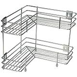 Sadagun Stainless Steel 2 Layer Corner Stand for Kitchen and Bathroom/Multipurpose Storage Rack/Bathroom Rack Silver Colour (1 Piece)