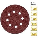 PRETEX 60 Klett-Schleifscheiben für Exzenter-Schleifer 8 Loch, Ø 125 mm (je 10 Stück mit den Körnungen 40/60/80/120/180/240) | Schleifpapier, Schleifblätter