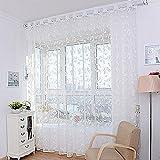 Voberry® tende per casa, 1 pz Fiore di modo tenda della finestra di filato per camera da letto rustico Sheer Curtain Tulle Dimensioni 200x100 cm (bianco)
