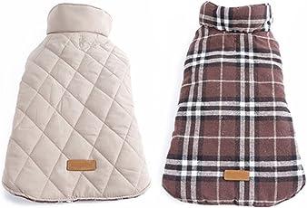 Generic Dog Waterproof Reversible Plaid Jacket Coat Winter Warm Clothes Brown Xxxl
