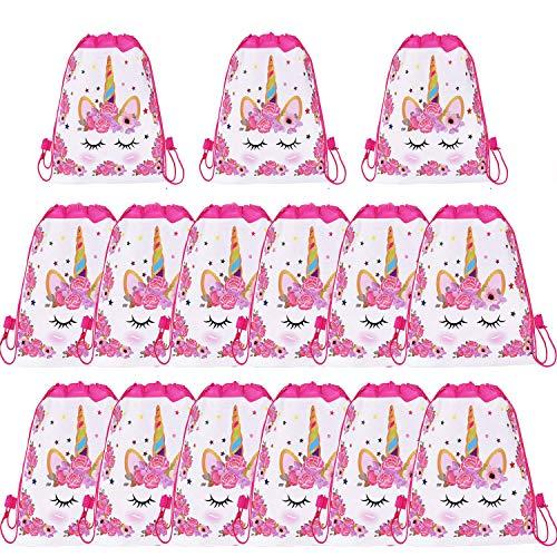 SIMUER 15 pcs Mochilas Unicornio, Bolsas con Cordón Mochila Party Bolsas Tela no Tejida Escolar Hombro Mochila de Viaje Bolsa de Baile Gimnasio para Adolescentes Niños niñas Cumpleaños