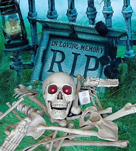 (Halloween Set Skelett Teile 28 Knochen und Totenschädel LED Licht und Sound Nachtsicht Bewegungsmelder inklusive Halloween Grabstein mit schwarzer Rose RIP mit Blitzlicht Effekt auf Knopfdruck)