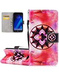 Galaxy A5 2017 Case, Galaxy A5 2017 Wallet Case, ISAKEN [Shock-Absorption] Magnetic Folder Card Holders Money Pouch, PU Leather Wallet Case Purse Protective Cover Stand Function Flip Folio Book Case with Strap for Samsung Galaxy A5 2017 - Mandala