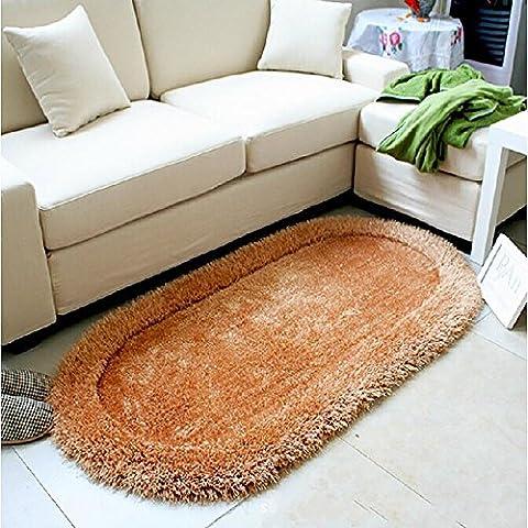 New day-Ovale seta stretch comodino tappeto di moquette di seta seta coreano 70 * 140cm camera da letto , deep tan (champagne) , 70*140cm