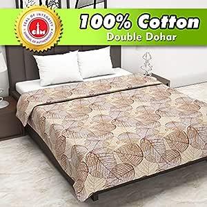 Divine Casa 100% Cotton Reversible Blanket/Duvet Easyweight, AC Double Dohar, Floral- Brown