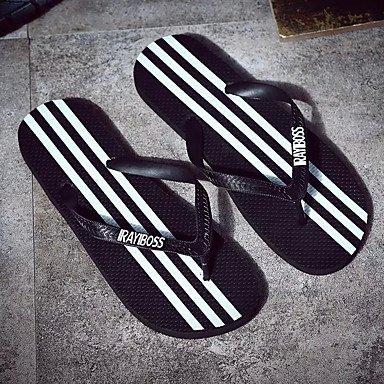 zhENfu Women's Sandals Comfort PU Summer Outdoor Flat Heel Black/White Black White Flat Black/White