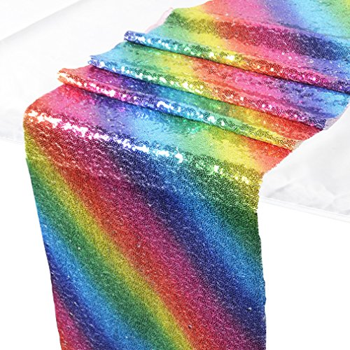 yinew Rainbow Pailletten Tischläufer, Tisch Flagge Dekorationen für Hochzeit Geburtstag Baby Dusche, Polyester, Rainbow sequins, 30*270cm