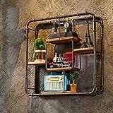 LOFT Wanddekoration Regal Loft Industrie-Retro-Möbel Bücherschrank Wasserrohr Eisen Rahmen Racks kreative Display Regale(61cm * 16cm * 61cm) Industrielle Dekoration Wand