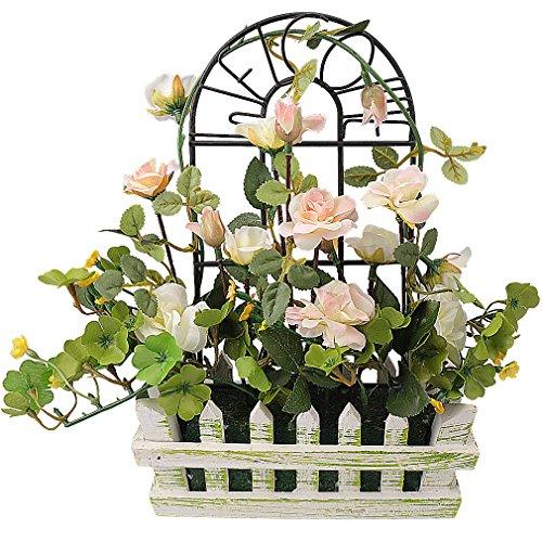 Rerxn - fiori artificiali europei in vaso steccato in legno con rose di seta, decorazioni per casa e matrimoni White