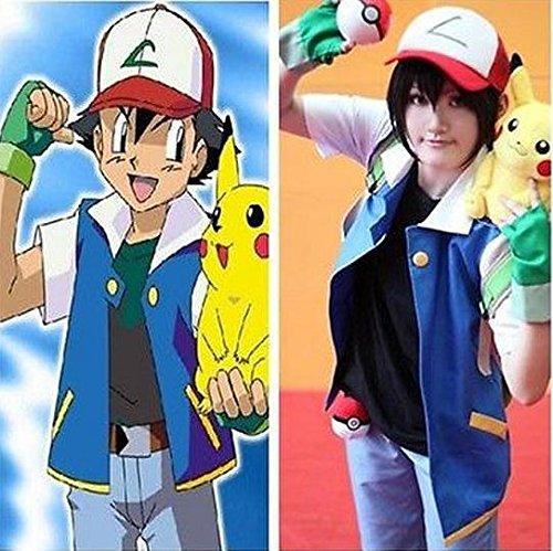 Pokemon Ash Ketchum Trainer cosplay Kostüm(Mailen Sie uns Ihre Größe),Größe XL:175-180 cm